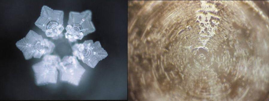 Voda na kterou působila píseň Imagine od Johna Lennona, na druhém snímku působení heavy-metalové písně. Foto: Masaru Emoto